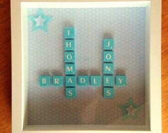 Letter tile christening gift made to order