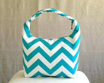 Lunch Bag Insulated, Women Lunch Bag, Chevron Lunch Bag,Fabric Lunch Bag, Eco Friendly Lunch Tote, Teal Chevron