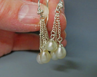 Pearl Earrings - Triple Pearl Dangle Earrings - Cultured Freshwater White Pearl and Sterling Silver Drop Earrings