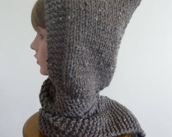 Hooded Scarf Chunky Knit Scoodie Teen Adult Warm Hooded Scarf - Barley - Ready to Ship - Direct Checkout