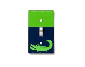 Alligator light switch cover crocodile switchplate kids room decor jungle safari animals zoo boys girls