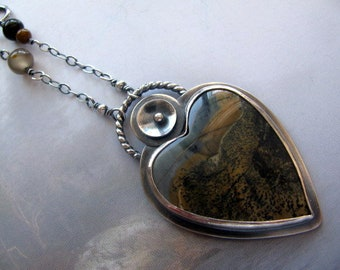 Sterling Silver Pendant Necklace, Heart Pendant, Large Stone Heart Necklace, Chinese Paintbrush Stone, Earthy Colors