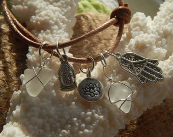 Sea Glass Charm Leather Bracelet
