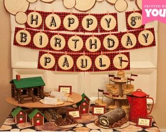 Lumberjack Birthday Collection   Print at Home Birthday Party Decorations   Log Cabin   Buffalo Plaid   DIY Printable   Digital Files