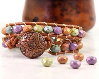 Jewel Tone Wrap Bracelet Purple Green Blue Bohemian Jewelry Gypsy Wrap Bracelet Copper Leather Bracelet Fall Fashion Accessory Hippie Wrap