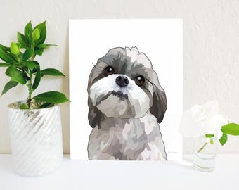 Shih Tzu Art Print, Shih Tzu Wall Art, Shih Tzu Decor, Shih Tzu Gift, Shih Tzu Dog Breed Art, Dog Memorial, Dog Portrait, Dog Lover Gift