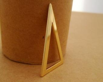 6pcs 35mm 14k Gold Stylish Minimalist Geometry Large Triangle Charms Pendants Links Connectors Brass 0103-0114-1