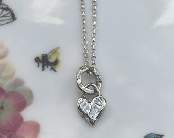 Chunky Silver Heart Necklace, Sterling Silver Heart Necklace, Silver Heart Pendant,  Love Heart, Girlfriend Gift, Wedding Anniversary Gift,