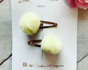 Pom Pom Tail Hair Snaps / Pom Pom Hair Clips / Fluffy Hair Clips / Felt Pom Pom / Easter Gifts / Gift Ideas / Gifts for Girls