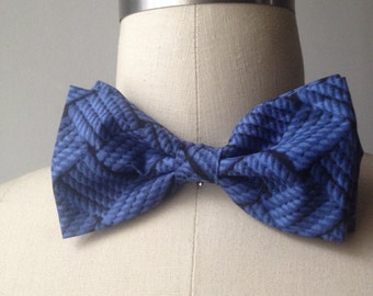 Navy Nautical Rope Bowtie with adjustable strap, Mens bowtie