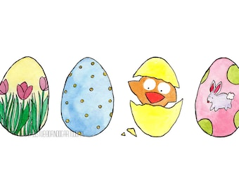 Easter Peeps - Watercolor Art Print - Eggs Holiday Spring