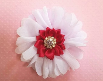White and Red Fabric Flower. Chiffon and Satin Fabric Flower. Rhinestone Embellished Flower.