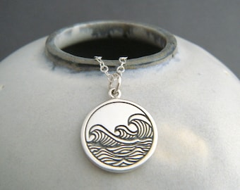 ocean wave necklace sterling silver etched sea pendant small water element necklace four 4 elemental symbol charm zen yoga yogi jewelry 5/8""