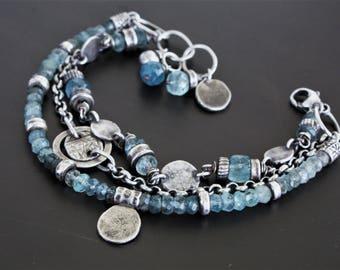 Sterling silver gemstone bracelet, moss aquamarine bracelet, multi strand bracelet, oxidized sterling silver bracelet, boho bracelet