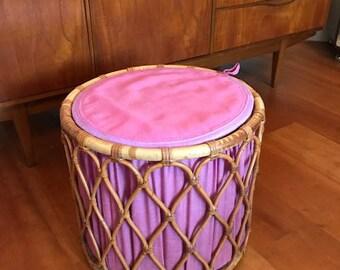 Mid century rattan stool / pink / vintage / retro