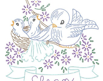 IVLW459 Banner Bluebird Day of the Week for Tea Towels Vintage Embroidery Transfer PDF Instant Download!