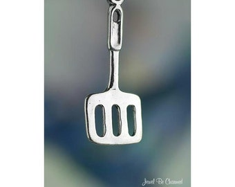 Sterling Silver Spatula Charm Cooking Grilling Baking 3D Solid .925