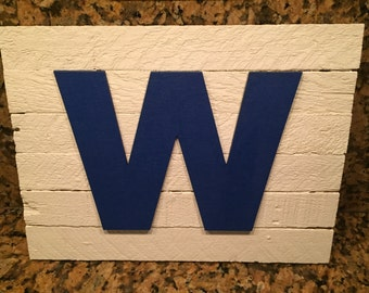 "Chicago Cubs W Rustic Wooden Sign 12"" X 9"""
