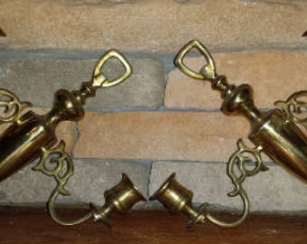 Pair of Vintage Solid Brass Double Arm Candle Wall Sconce from England 1970 D251