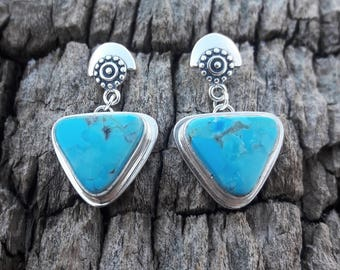 Turquoise & Sterling Silver Dangle Stud Earrings