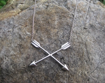 sterling silver CROSSED ARROWS necklace gypsy wandered traveller archer