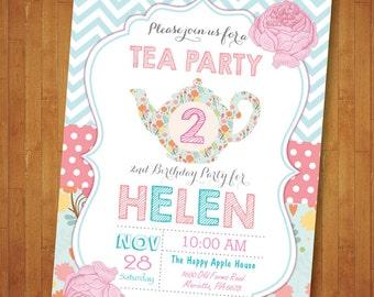 Tea for two Invitation. Tea Party Invitation. Tea Party Birthday Invitation. Tea for 2. Second 2nd Birthday Invite Floral. Printable Digital