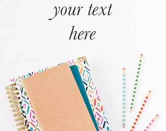 Vertical Styled Stock Photo, Planner mockup, Bright Color Stock Photo, Planner Stock Photo, Business Photo