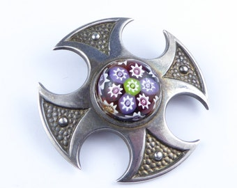Vintage Scottish Silver cross brooch with Caithness glass stone - Hallmarked Birmingham 1977