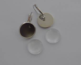 20 pieces: 10 blank earrings silver 10 cabochons 16mm