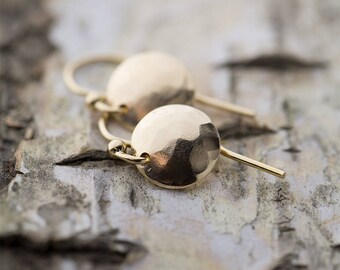 Hammered Gold Earrings Handmade, Tiny Dangle Earrings, Gift for Women, Womens Gold Jewelry Gift for Her, Burnish Jewellery