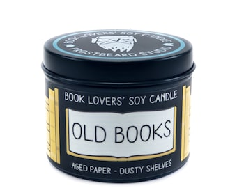 Old Books - 4 oz Book Lovers' Soy Candle -  Book Lover Gift - Scented Soy Candle - Frostbeard Studio