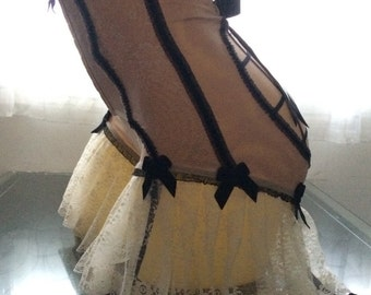 Strange Vintage Custom  - High Waist Bloomer Girdle Panty with Cage Work and Garters - Victorian Steampunk