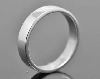 14K palladium white gold ring, 5mm x 1.3mm, flat, wedding band, wedding ring, square, mens wedding ring, mens wedding band, size up to 12
