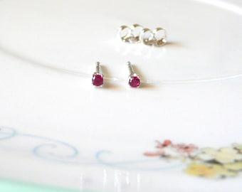 2mm ruby tiny earrings, simple sterling silver studs, lab ruby gemstone earrings, July birthstone, ruby birthstone earrings