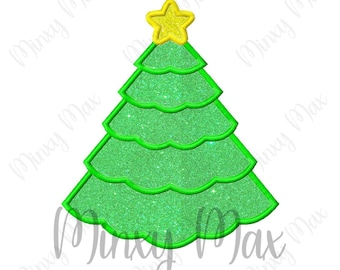 Christmas Tree 2 Applique Machine Embroidery Design 4x4 5x7 6x10 INSTANT DOWNLOAD