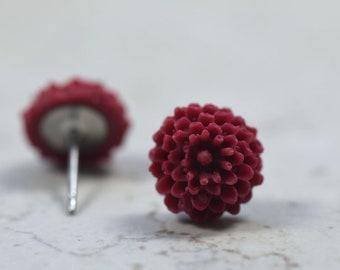 Burgundy Succulent Earrings, Botanical Jewelry, Plant Lovers Spring Garden Gift Ideas, Sempervivum Hen and Chicks Succy Love Dark Red Wine