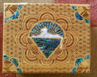 Cats under the stars abalone and pearl inlay box