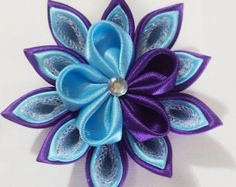 Kanzashi Flower, Purple and Blue Hair Clip, Purple Flower Clip, Purple Hair Clip, Blue Flower Clip, Blue Hair Clip, Hair Clip, Hair Flowers