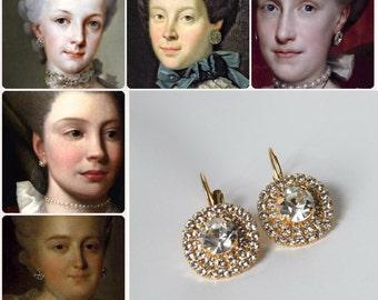 18th Century Earrings, Georgian Paste Earrings, Historical Jewelry, Marie Antoinette Earrings, Rococo Jewelry, Reproduction Earrings, Paste