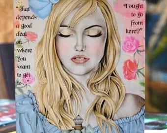 Drink Me Alice In Wonderland A5 Greetings Card