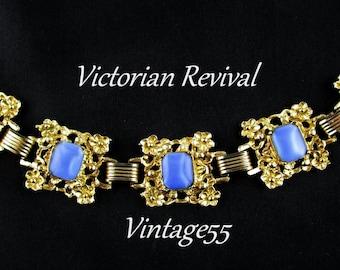 Bracelet Blue Satin Glass Floral Victorian Revival
