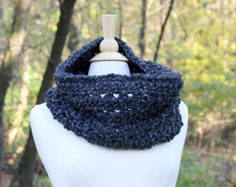 Crochet oversized scarf, dark gray chunky scarf, chunky cowl scarf, cowl neckwarmer, gift for her, oversized winter scarf