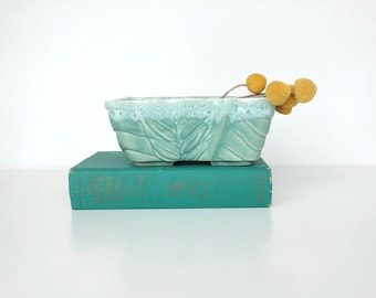 Turquoise USA Pottery Planter With Leaf Design and Drip Glaze, Succulent Planter, Seaside Decor