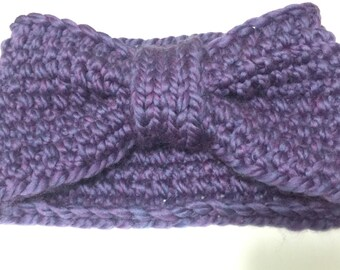 Purple Knit Ear Warmer Headband
