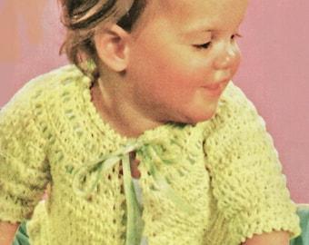 Baby Crochet Pattern, Crochet Baby Sweater Pattern, 3-Ply Crochet Pattern, Baby Sacque Pattern, INSTANT Download Pattern PDF (1332)