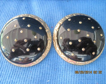 Vintage GORGEOUS Big Bold Gold & Black Lucite Studded Clip Earrings ..#7337....ESTATE ITEM...50's/60's.....Bridal Wear/Fabulous/Hollywood
