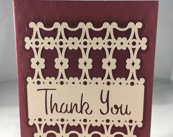 Maroon Thank You Card - Blank Inside