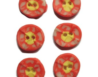 Polymer Clay Buttons Size 20mm Colorful White Yellow Pink Buttons.