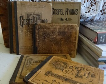 Vintage set 7  Hymm Books Shabby