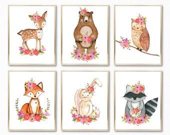Girl Woodland Nursery Print Set. Floral Woodland Nursery Decor. Girl Forest Animals Wall Art. Woodland Nursery art. Digital Prints. Nursery